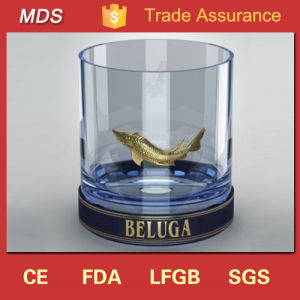 Best Beluga Metal Label Shot Glass Cup with Gold Fish pictures & photos