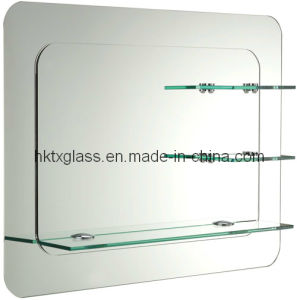 wall mirror with glass shelves