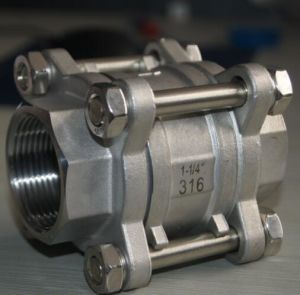 Stainless Steel 1000wog 3PC Ball Valve with Hand Wheel