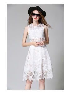 High-End Lace Hollow Sleeveless Blue Women Dress pictures & photos