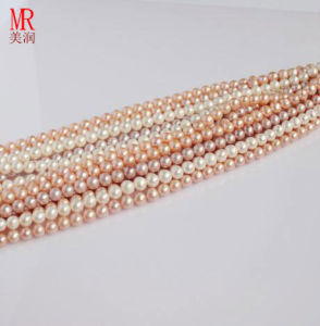 5-6mm Round Natural Fresh Water Pearl String Wholesale, Pearl Material pictures & photos