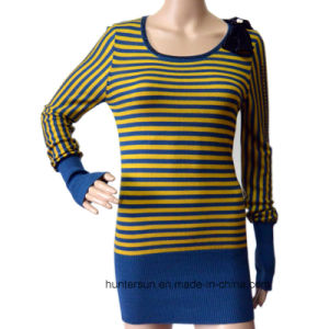 Women Stripe Sweater with Strass Bowknot Round Neck Knitwear (HS6113)