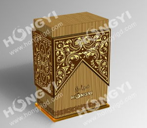 Gold+Brown Embossed Glossy Printing Perfume Box (HYP002) pictures & photos