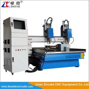 Two spindles china best cnc router with yaskawa servo for Best router motor for cnc