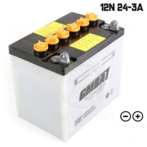 JIS 12n24-3 26A19L 12V24ah Starting Dry Charge Lawn Mower Battery pictures & photos
