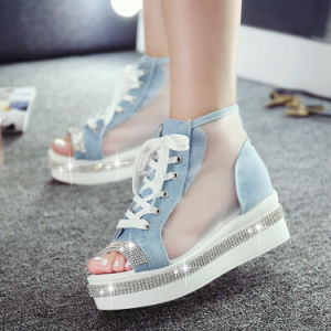 Summer New Flat Canvas Denim Casual Platform Shoes Fashion Breathable Net Yarn Rhinestones Women Sandals pictures & photos