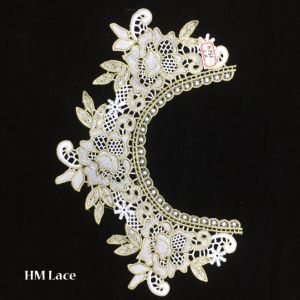 37*26cm Gold Floral Crocheted Garment Necklace Embroidered Applique, Pink Yoke Lace Collar Hme936 pictures & photos