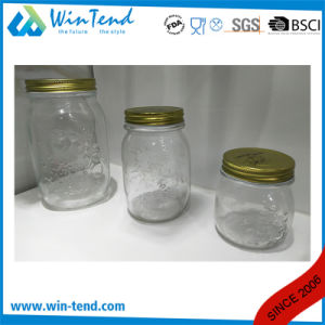 Wholesale Kitchen Storage Glass Jar Canister with Screw Golden Aluminum Lid pictures & photos