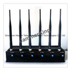 High Power 6 Antenna WiFi & GPS & Cell Phone Jammer/Adjustable Remote Control High Power Desktop Cell Phone Jammer with 2 Cooler Fans pictures & photos