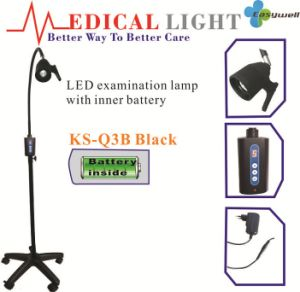 3W LED Light Source Realize AC/DC Surgical Exam Light Lamp Ks-Q3b Mobile Standard Type with Inner Battery in Black Color