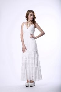 Ladies White Long Lace Slip Evening Dress pictures & photos