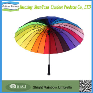Straight Strong Auto Open Windproof Waterproof Rainbow Umbrella for Wedding Party Favor