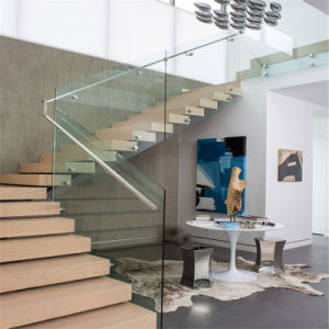Mono Stringer Staircase in Wood and Glass pictures & photos