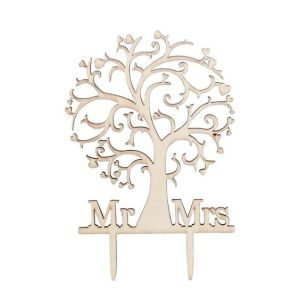 Unique Mr & Mrs Wood Wedding Cake Topper pictures & photos
