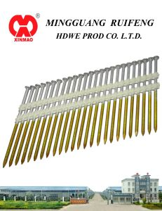 "21 Degree, 3-1/2"" X. 120"" Framing Nails, Screw Shank Hot DIP Galvanized (HDG) Plastic Strip Nails pictures & photos"