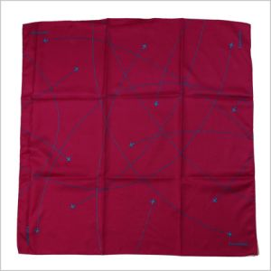 New Design Solid Wine Color Uniform Printed Silk Polyester Logo Scarf (SF-019) pictures & photos