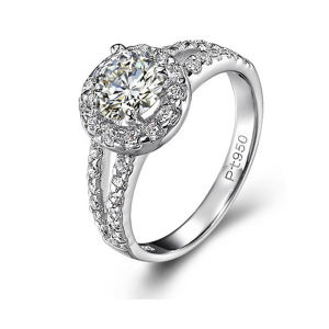 Wedding Rings PT 950 with Diamond Jewelry pictures & photos