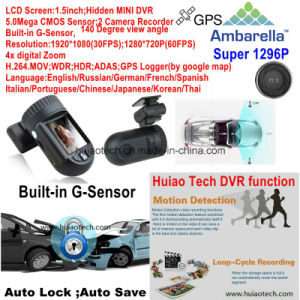 "1.5""Mini A7la50 1296p Car DVR Ambarella with 5.0mega Car Camera, WDR, Hdr, G-Sensor, GPS Tracking Function pictures & photos"