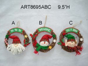"9.5""H Santa, Snowman and Elf Christmas Decoration Wreath, 3 Asst pictures & photos"