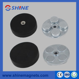 D34mm Permanent NdFeB Rubber Covered Pot Magnet with Threaded Hole pictures & photos