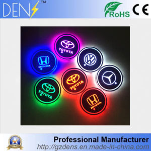 LED 7 Changing Color Car Logo Cup Mat Coaster for Honda Toyota pictures & photos