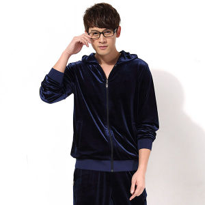 Royal Blue Long Sleeve Men Velour Hoody Sets pictures & photos