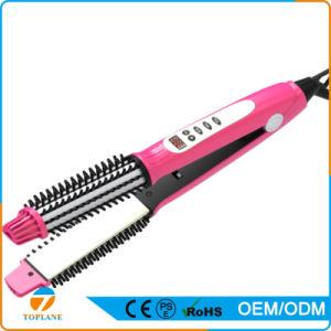 Digital Display PTC Heating Hair Brush Straightener Salon Hair Straightener Brush Comb pictures & photos