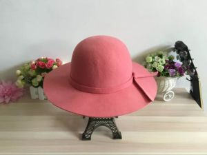 Woman Winter Promotional Wide Brim Hat with Bowknot pictures & photos