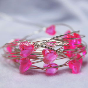 Romantic Pink Red Heart Shaped Copper Wire Glimmer String Light Indoor USB 33 FT/ 10 M Battery Operated pictures & photos