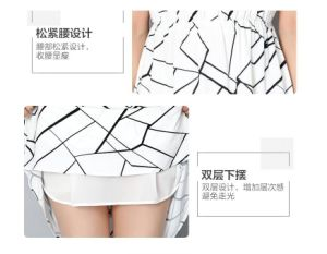 Summer Latest Lines Pattern Shirt Collar Ladies Dress pictures & photos