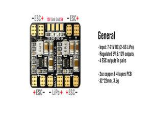 Matek Micro Pdb / Power Hub / Power Distribution Board with 5V 12V Dual Bec Output for Qav150 Qav180 Qav210 Fpv Mini Quadcopter pictures & photos