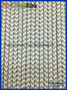 Party Decoration Grey Chevron Paper Straw pictures & photos