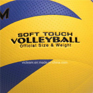 Top-Grade Soft Grip Glued PU Leather Volley Ball pictures & photos