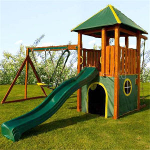 Children Toys Wooden Playground Swing and Slide Set (09) pictures & photos