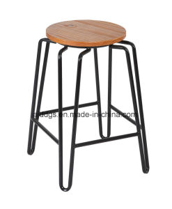 Wooden Seat Iron Tube High Round Bar Stool pictures & photos