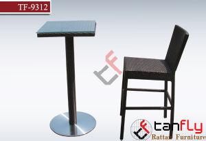Modern Metal Plastic Rattan Club High Bar Chair and Table