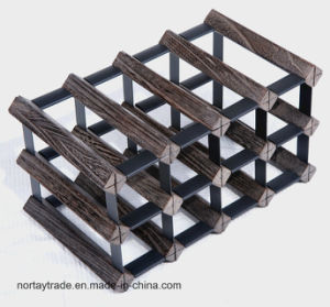 Creative Solid Wood Wine Racks with Iron Connection pictures & photos