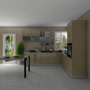 Fashion Gold Brass UV Paint Kitchen Cabinets with Price pictures & photos
