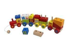 Wooden Block Train Toy with 4 Carriage for Toddlers pictures & photos