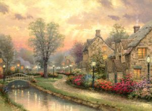 a Cabin in The Woods with Various Plants, Flowers and Birds Landscape Oil Painting Model No: Hx-4-026 pictures & photos