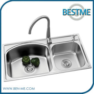 Kitchen Sink Stainless Steel with Two Bowls (BS-8001) pictures & photos