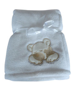 Solid Color Embrodiered Applique Baby Coral Fleece Throw pictures & photos