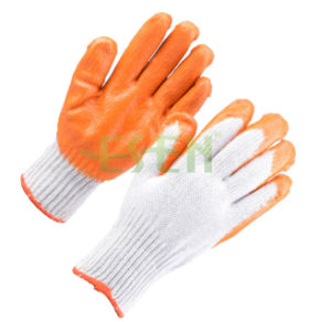 Cotton Latex Coated Safety Glove Rubber Grip Palm Glove pictures & photos