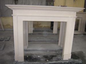 Hand Carved Yellow Travertine Fireplace Surround for Home pictures & photos