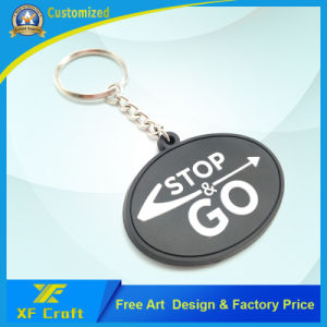 Cheap Customized Plastic Soft Rubber Key Ring with Any Logo Design (XF-KC-P37) pictures & photos