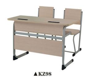 Adjustable Double Seat Wooden School Furniture Set pictures & photos