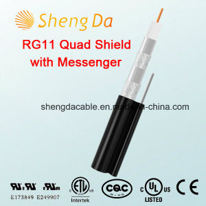 Rg11 Quad Shield with Messenger Drop Outdoor Coaxial Cable pictures & photos