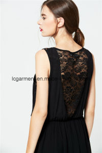 Hot Sale New Style Sweet Lace Chiffon Woman Dress Sleeveless with Metals pictures & photos