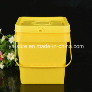 5L Yellow Square Plastic Bucket with Handle pictures & photos