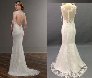 Illusion Back Fit and Flare Wedding Gown pictures & photos